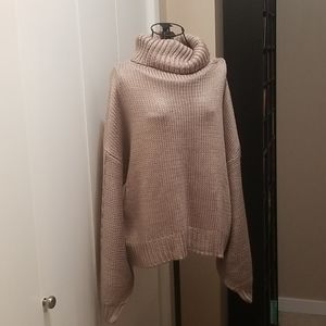 Taupe cable knit sweater